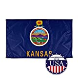 Vispronet - Kansas State Flag - 3ft x 5ft Knitted Polyester, State Flag Collection, Made in The USA (Flag Only)