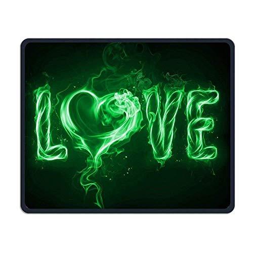 (Borde de bloqueo avanzado) Alfombrilla de ratón para ordenador Love Green Fire Alfombrillas de ratón portátiles para juegos de ordenador, móvil personalizado, alfombrilla CuteMouse para mujeres, homb