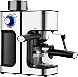 Kaper Go cafetera Máquina de Espresso de 800W con Bomba de 5 Bar y Molde de Leche, y Jarra de Vidrio, máquinas de Goteo pequeñas con decoración de Acero Inoxidable para el hogar