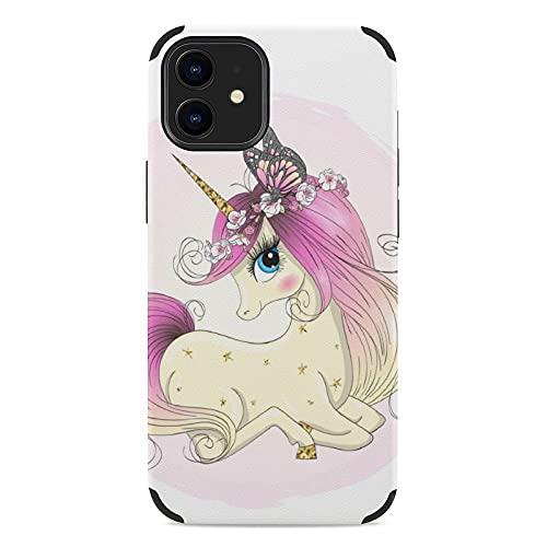 Funda para iPhone 12 Mini, Estuche para Teléfono Móvil Ultrafino De Microfibra Estampada Multiestilo A Prueba De Golpes Unicornio con Ojos Grandes iPhone 12