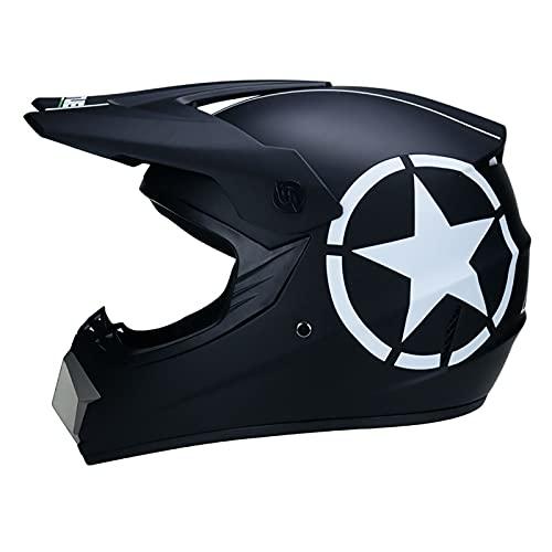 LGLE Casco de Moto Niños,Casco MTB de Integrales Adultos Conjunto de Casco de Motocross con Gafas/Guantes/Máscara para Downhill Enduro Dirt Bike Quad ATV BMX,A,M