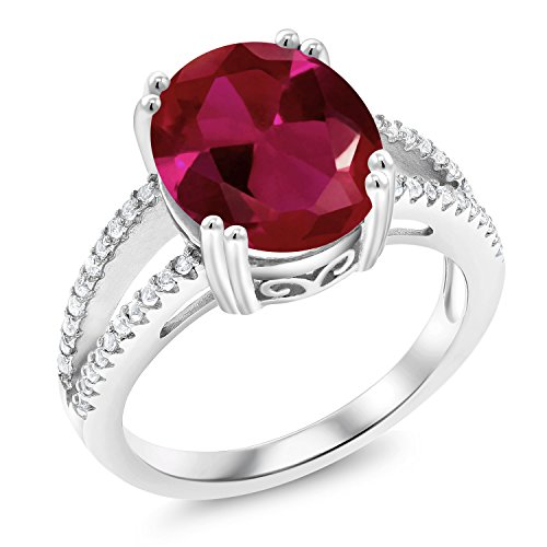 Gem Stone King 925 Sterling Silver Red Created Ruby Women Ring (5.48 Ct Oval, Available in size 5, 6, 7, 8, 9)