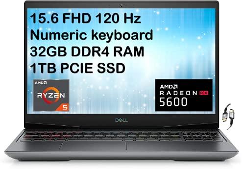 2020 Dell G5 SE 15.6' FHD IPS 120 Hz High Performance Gaming Laptop, 6-core AMD Ryzen 5 4600H, 32GB RAM, 1TB PCIe SSD, AMD Radeon RX 5600M, Backlit Keyboard, USB-C, Win 10