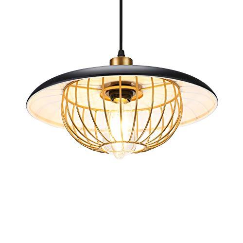 Asvert Lámpara Colgante Vintage Φ35cm de Bombillas E27, Lámpara de Techo Colgantes Para Interiores el cable de 1.5m Ajustable