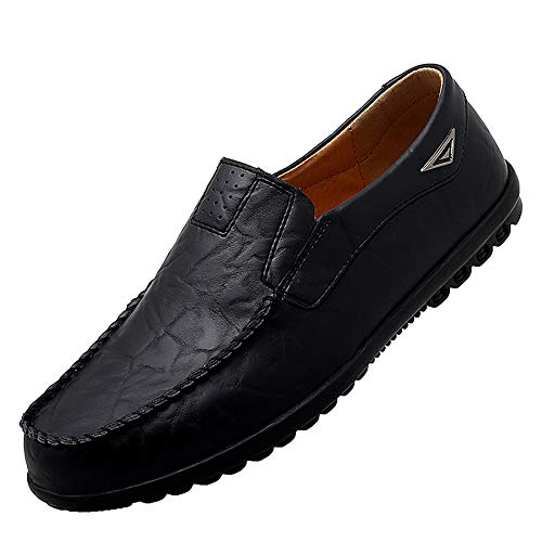 Go Tour Men's Premium Genuine Leather Casual Slip on Loafers Breathable Driving Shoes Fashion Slipper A Black 11/47