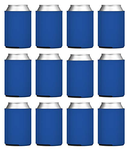 TahoeBay Blank Beer Can Coolers, Plain Bulk Collapsible Foam Soda Cover Coolies, Personalized Sublimation Sleeves for Weddings, Bachelorette Parties, HTV Projects (Royal Blue)