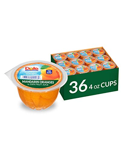 Dole Mandarin Oranges In Light Syrup, Individual Serving, 4-Ounce Containers (Pack of 36)