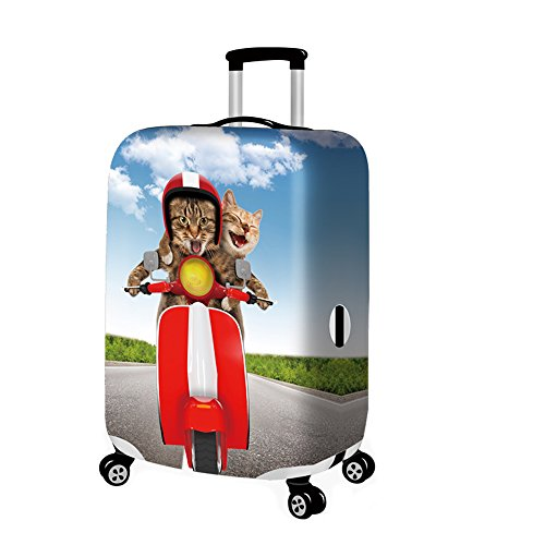 YAKEFJ Travel Luggage Cover Suitcase Protector Fits for 18-32 Inch Luggage (Motor cat, S)