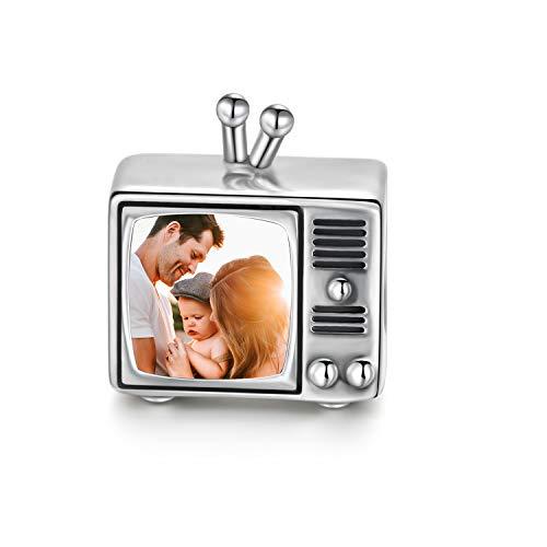 LONAGO 925 Sterling Silber Personalisierte Foto Charm Fit Pandora Armband Halskette Maßgeschneiderte Herzform Bild Perle (Fernseher)