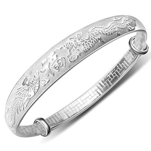 20% Rabatt Mecool 999 Sterling Silber Drachen Phoenix geschnitzt Armreif Armreif erweiterbar Armreif