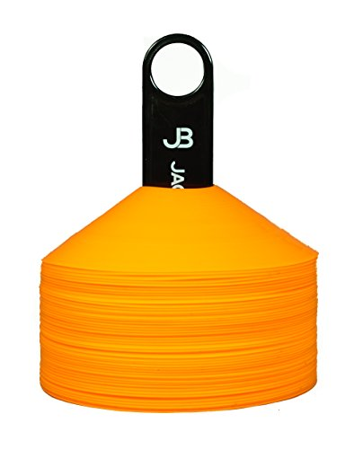 Pro Disc Cones (Set of 50), includes Cone Holder and Bag - Flexible Highly Visible Orange Plastic Cones for Soccer, Kids, Football, Basketball, Sports,Training, Speed, Obstacle Course, Dogs