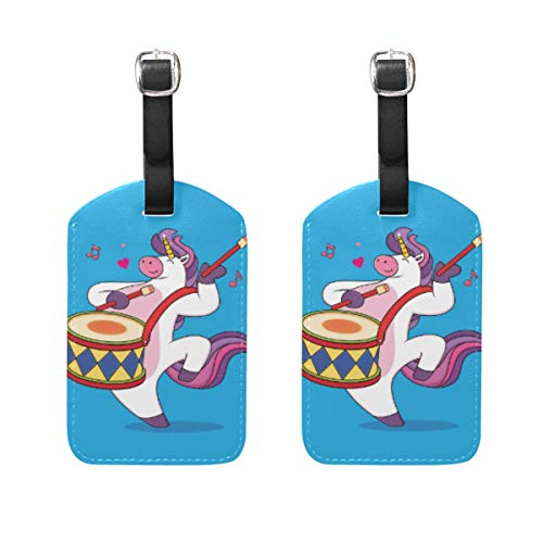 2 Pack Luggage Tags Cute Unicorn Cartoons Playing Drums PU Leather ID Labels with Back Privacy Cover for Travel Bag Suitcase