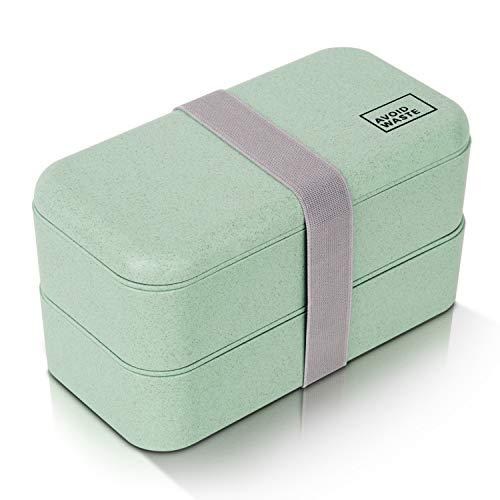 Avoidwaste Nachhaltige Lunchbox mit Weizenstroh (900ml) Premium Aufbewahrungsbox mit Deckel, Besteck und Trennwand als Bento-Box mit 2 Fächern. Biologisch abbaubar, BPA frei, auslaufsicher (grün)
