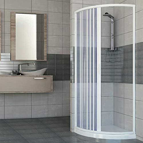 Mampara de ducha con una puerta de apertura lateral semicircular. Fabricado en PVC no tóxico autoextinguible. Reducible a través del corte del riel. Color blanco.