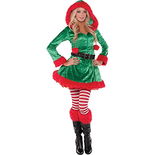 amscan Party City Sassy Elf Costume for Women, Medium, Includes Accessories