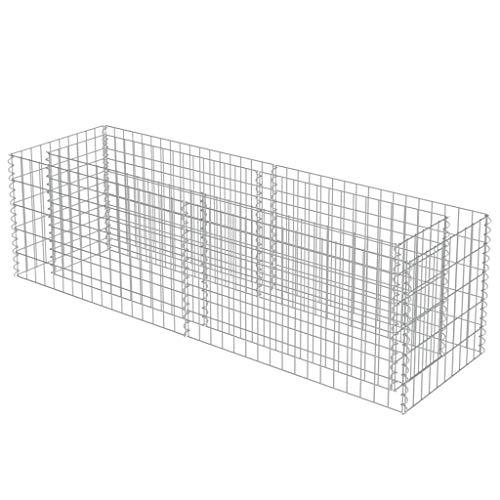 vidaXL Gabionen Hochbeet Verzinkter Stahl 180x50x50 cm Pflanzkorb Steinkorb
