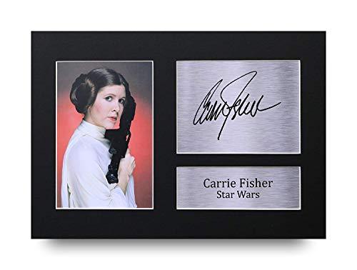 HWC Trading Carrie Fisher A4 Sin Marco Regalo De Visualización De Fotos De Impresión De Imagen Impresa Autógrafo Firmado Por Star Wars Los Aficionados Al Cine