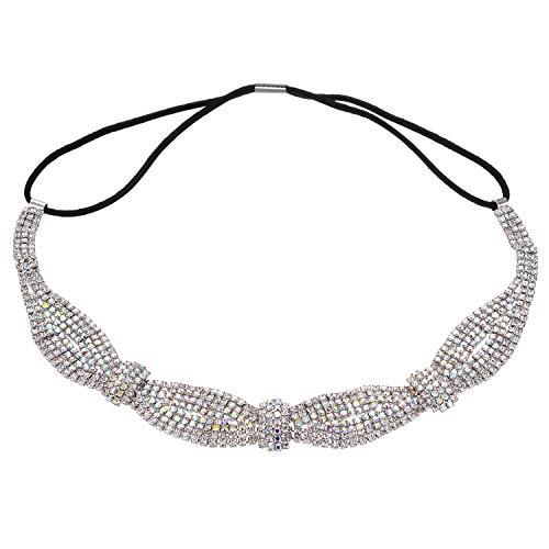 Lux Accessories Silver Braided Clear Rhinestones tretch Elastic Headband