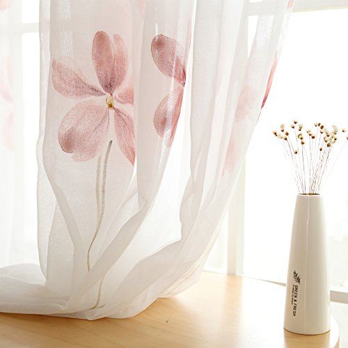 Melodieux Floral Sheer Curtains for Living Room Rod Pocket Voile Drapes, 52 by 96 Inch, White (1 Panel)