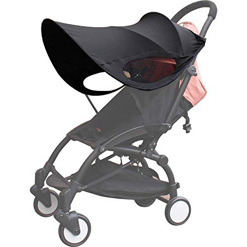 Kyowoll Baby Stroller Sun Cover - Universal Fit Pram and Buggy Sunshade and Blackout Blind,Pushchair Sun Protection,Awning Anti-UV Umbrella,Stops 99% of The Sun's Rays UPF50+ (Black New Version)