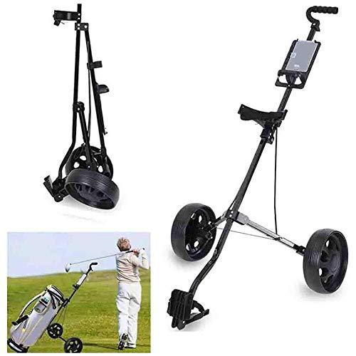 HYQW Golfwagen Golf Trolley 2 Räder Aluminium Golf Trolley Golfwagen Klappbar Mit Scorecard Für Outdoor-Reisesport Professional Golf Cart,Black