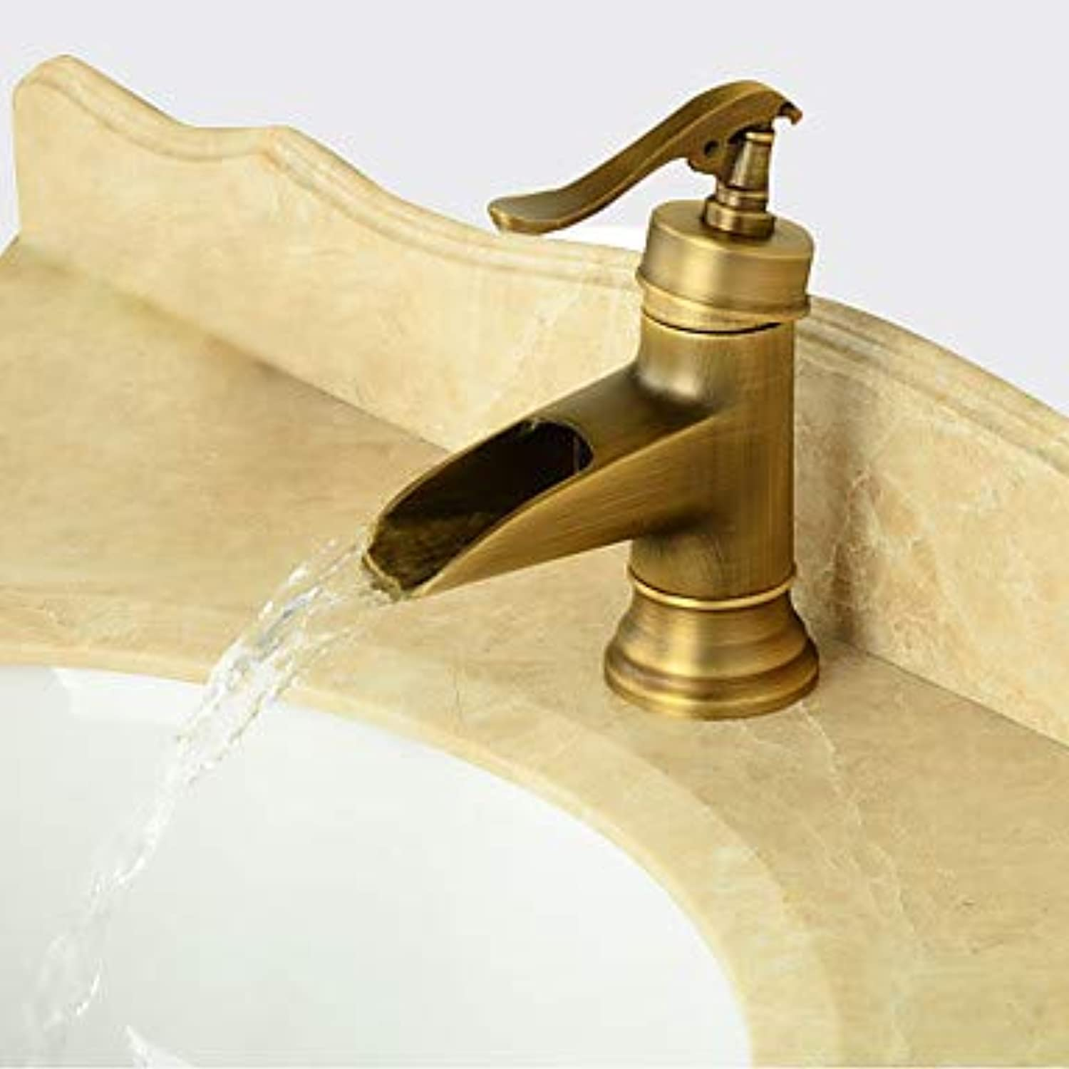 Antique Modern Traditional Centerset Pre Rinse Waterfall Widespread Ceramic Valve Single Handle Two Holes Antique Copper, Bathroom Sink