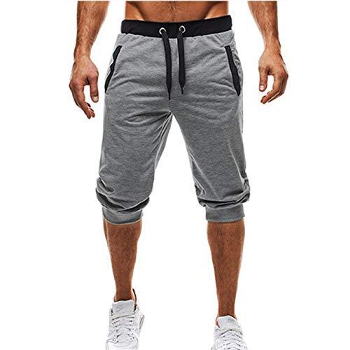 Pantalones de Jogging para Hombre Verano Cómodo Pantalones Cortos de Cinco Puntos Transpirables hasta la Rodilla Cordón Cintura elástica Pantalones Deportivos Casuales Adecuado para Salidas al XXL