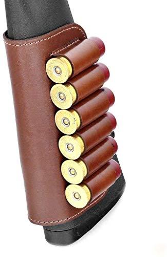 Genuine Leather Buttstock Ammo Holder Shotshell Carrier | Shotgun Shell Cover 6 (12) Gauge | Ammo Pouch Bag Stock Shotgun Shell Holder | Dark Brown