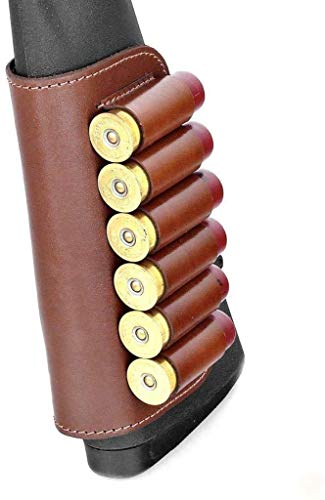 Genuine Leather Buttstock Ammo Holder Shotshell Carrier | Shotgun Shell Cover 6 (20) Gauge | Ammo Pouch Bag Stock Shotgun Shell Holder | Dark Brown