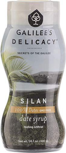Galilee's Delicacy Pure Date Honey, 100% Silan Date Syrup in Squeeze Bottle Sugar and GMO Free 400g