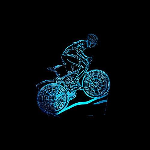 Xzfddn Usb Led 3D Mountainbike Tischlampe Schlafzimmer Nacht Schlaf Leuchte 7 Farben Sportler Sport Liebhaber Nachtlicht Dekor Geschenke