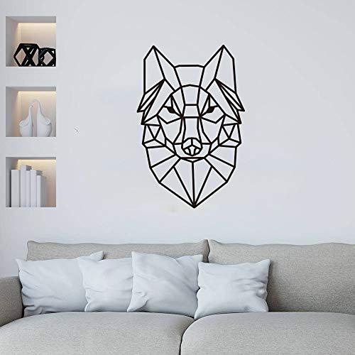wZUN Cartoon geometrische Wolf Wandaufkleber Baby Kinderzimmer Kinderzimmer niedlichen Tierkopf Wolf Wandtattoo Vinyl Dekoration 43X67cm