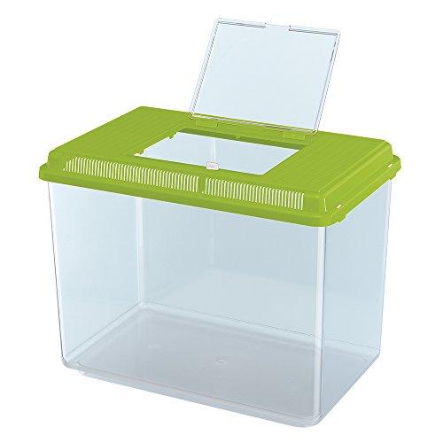 Ferplast Aquarium aus Kunststoff für Fische GEO Maxi Tank 21 L Behälter für Kleintiere Aquarium Terrarium Insekten Schildkröten, Robuster Kunststoff, Lüftungsgitter, 41,3 x 26 x 29,8 cm, grün