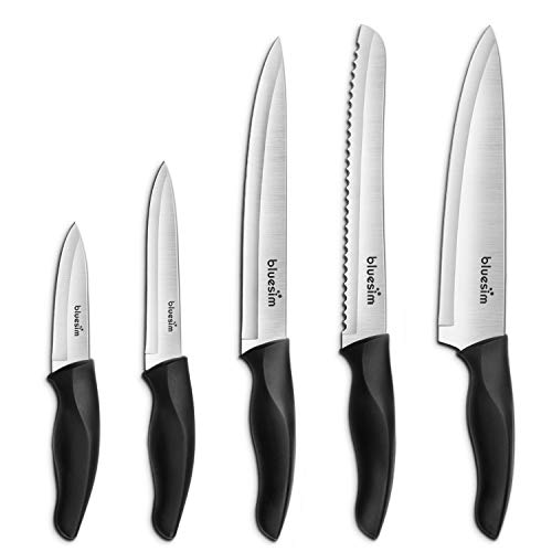 Knife Set,Kitchen Knife Set - Bluesim 5 Piece Matt Black Handle Knives Sets Including Carving Utility Chef and Paring Knives,Chef Knife Set with Gift Box Packaging
