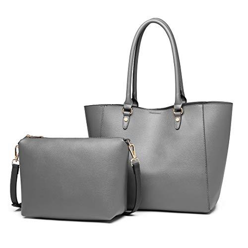 Miss Lulu Handtaschen 2 Stück Set Damen Umhängetasche Designer Schultertasche Hobo Taschen Groß (Grau)
