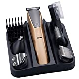 FAGavin Mens 6-en-1 USB Recargable Eléctrica De Pelo Clippers Kit Impermeable Lavable De Pelo Juego De Corte Sin Cable Barba Trimmer Máquina De Afeitar Pelo De La Nariz Pelo Trimmer For La Familia