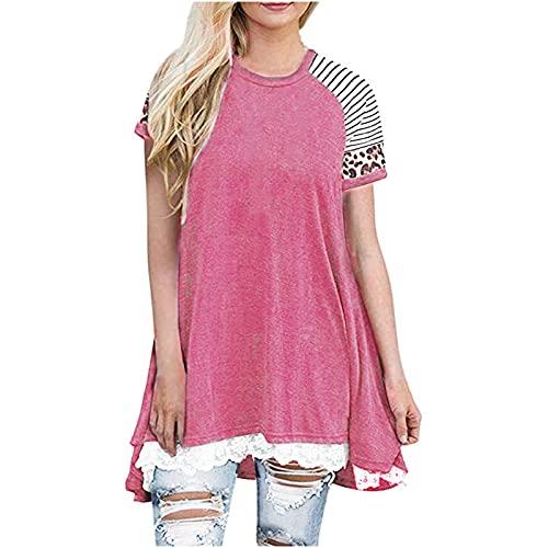 Damen Sommer Tops Plus Size Longline Top Blusen Verkauf Sommer Casual Stitching Kurzarm O-Neck Spitze Leopard Top Damen T-Shirt Lose Tunika T Shirts Print Outsize Basic Tee Gr. L, rose
