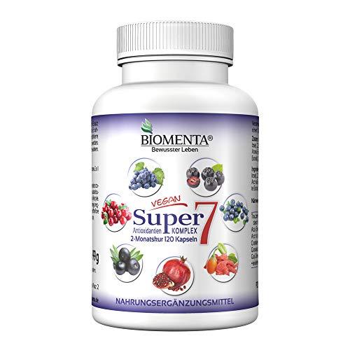 BIOMENTA Super7 – Antioxidantien Komplex – mit OPC Traubenkernextrakt + Cranberry + Goji Beeren + Aronia Beeren + Granatapfel + Acai + Heidelbeeren - 2 Monatskur – vegan – 120 Antioxidantien Kapseln