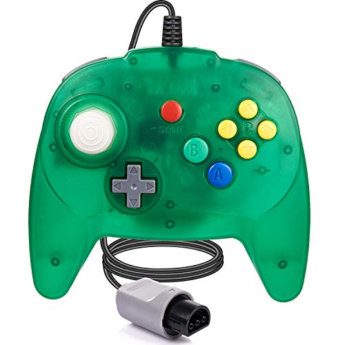 LUXMO Retro Mini N64 Wired standrd game controller for the Nintendo 64-bit video game console Gamepad Joystick design Replacement for N64 Classic Controller Jungle Green