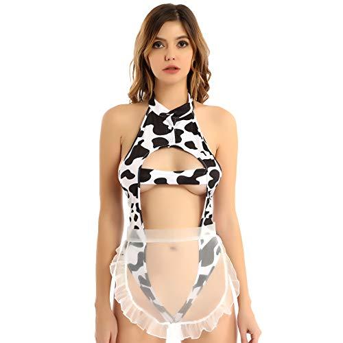 Sexy Vaca Cosplay Lencera Traviesa Traje De Mucama Francesa Kawaii Anime Leche Leopardo Bikini Profundo V De Una Pieza Teddy Body Blanco