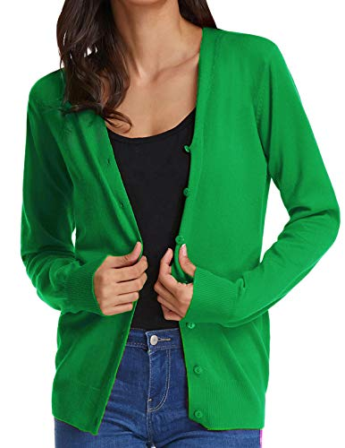 Women's Front Button Basic Cardigan Classic Open Front Sweater(2XL,Green)