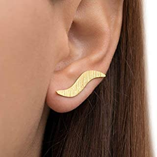 Oreja de oro aretes puño, elfo puños oreja, oro trepadores oreja, Espárragos Pendientes hipoalergénicos, rosa de oro Crawlers oreja, regalo para las mujeres