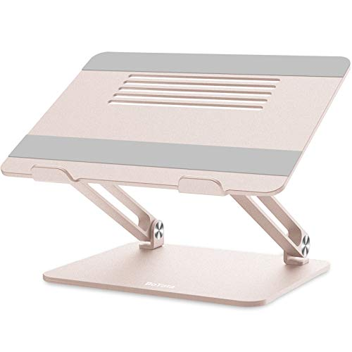 BoYata Laptop Stand, Multi-Angle Laptop Riser with Heat-Vent, Adjustable Notebook Stand Compatible for Laptop (11-17 inches) including MacBook Pro/Air, Lenovo, Samsung, HP (Golden)