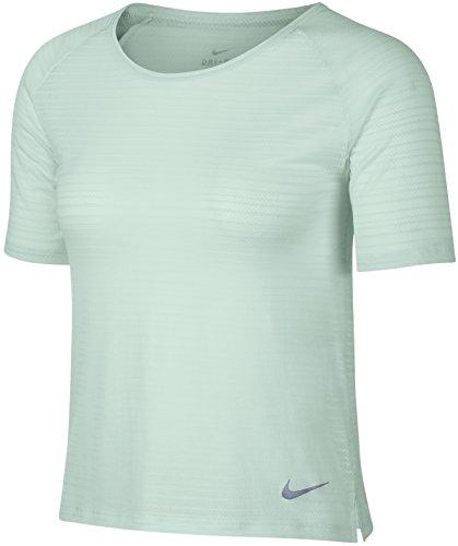 Nike Damen Miler Kurzarm-Oberteil, Barely Grey/Heather/Reflective Silver, L