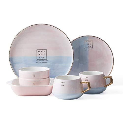 DHTOMC Set de vajillas domésticas HYDT HYDT, Conjunto de Placas de cerámica, vajilla de Phnom, 9 Piezas, Servicio para 4, cocinas de cocción a Alta Temperatura Xping