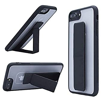 iPhone 8 Plus Case iPhone 7 Plus Case OHCOLDA Kickstand Case Hand Strap Vertical and Horizontal Stand Shockproof Leather Phone Strap Hard PC Slim TPU Case for iPhone 7 Plus/8 Plus 5.5   Black Clear