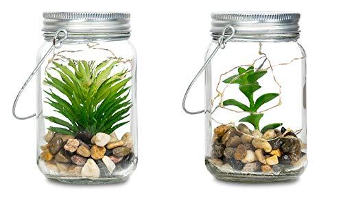 4er Set Sukkulenten Im Glas B x H: 8 x 13 cm Deckel LED Warmweiß Henkel Deko Tischdeko Lampe Kunstpflanze Hängelampe - 4