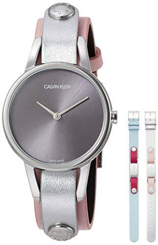 Reloj de Calvin Klein, de 32 mm de Acero, Correas de Cuero Rosa de Plata Celestial K9D231ZZ
