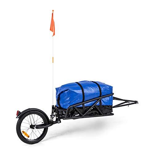 Klarfit Follower Fahrradanhänger Lastanhänger, einspurig, Ladefläche: 35,5 x 25,5 x 65 cm (BxHxT), 11 kg, 35 kg Lastgewicht, Stahlrahmen, 16-Zoll-Rad, dynamische Federung, Reflektoren, schwarz/blau