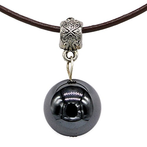 (SAJ) パワーストーン 革 レザー コード ペンダント 天然石 ネックレス メンズ 男性用 (ヘマタイト)